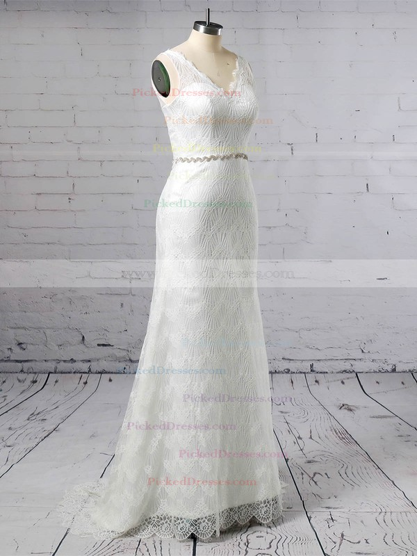 Trumpet/Mermaid V-neck Sweep Train Lace Sashes / Ribbons Wedding Dresses #PDS00023378