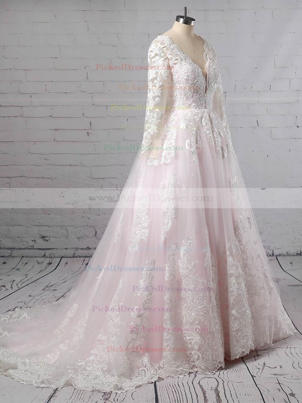 Ball Gown V-neck Sweep Train Tulle Appliques Lace Wedding Dresses #PDS00023379