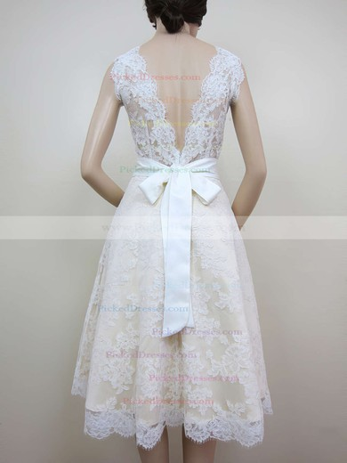 A-line Ivory Lace with Sashes/Ribbons Best Scoop Neck Wedding Dresses #PDS00020464