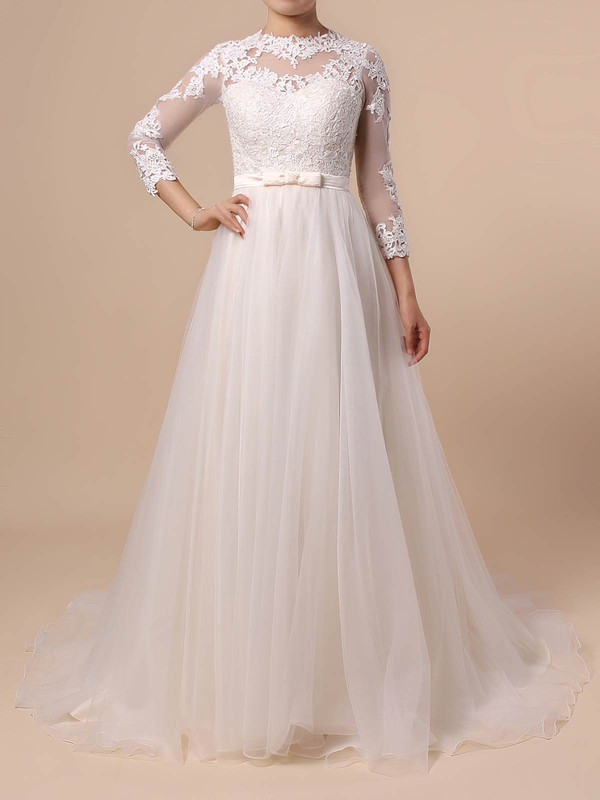 Princess Scoop Neck Sweep Train Tulle Appliques Lace Wedding Dresses #PDS00023382