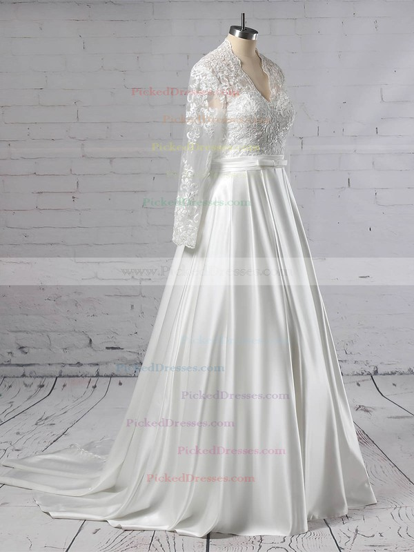 Ball Gown V-neck Sweep Train Satin Tulle Appliques Lace Wedding Dresses #PDS00023383