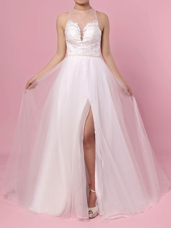 A-line Scoop Neck Sweep Train Tulle Beading Wedding Dresses #PDS00023384