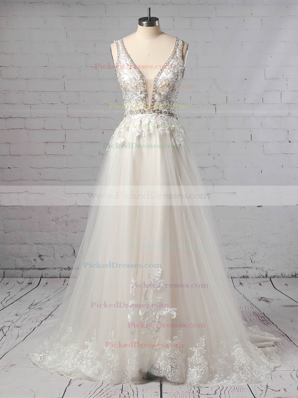 Princess V-neck Sweep Train Tulle Beading Wedding Dresses #PDS00023386