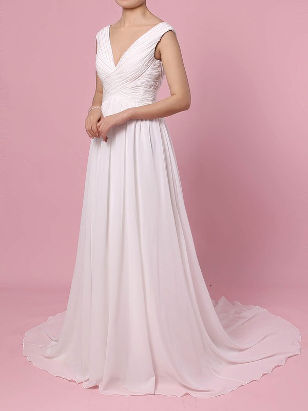 A-line V-neck Sweep Train Chiffon Beading Wedding Dresses #PDS00023396