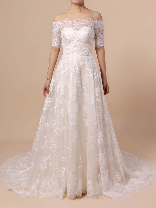 Princess Off-the-shoulder Sweep Train Lace Wedding Dresses #PDS00023397