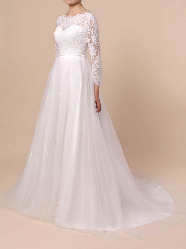 A-line Scoop Neck Sweep Train Lace Tulle Appliques Lace Wedding Dresses #PDS00023402