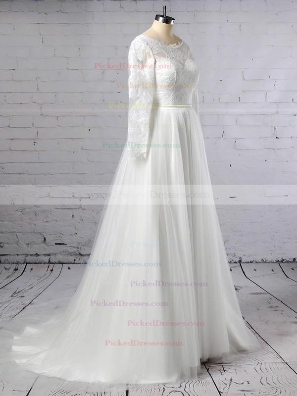 A-line Scoop Neck Sweep Train Lace Tulle Appliques Lace Wedding Dresses #PDS00023402