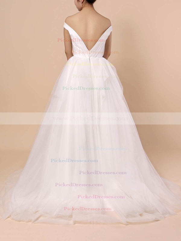 Ball Gown Off-the-shoulder Sweep Train Tulle Ruffles Wedding Dresses #PDS00023404