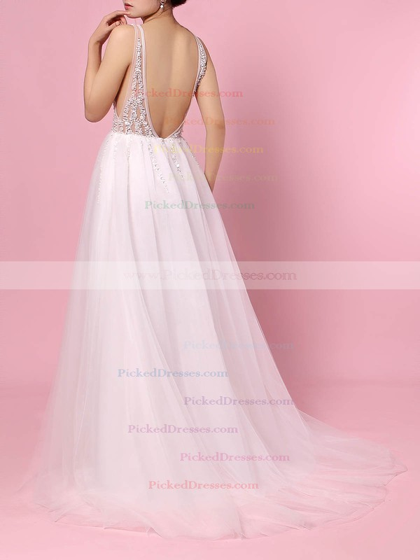 Princess V-neck Sweep Train Tulle Beading Wedding Dresses #PDS00023406