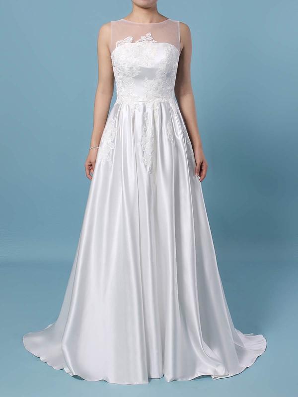 Princess Scoop Neck Sweep Train Satin Tulle Appliques Lace Wedding Dresses #PDS00023420