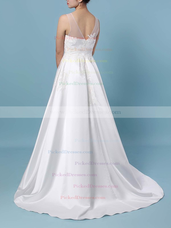 Princess Scoop Neck Sweep Train Satin Tulle Appliques Lace Wedding Dresses #PDS00023420