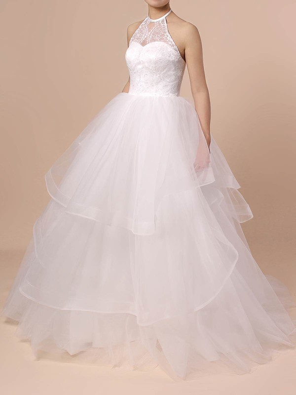 Ball Gown Halter Sweep Train Tulle Lace Wedding Dresses #PDS00023421