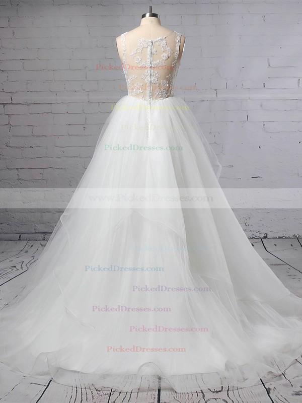 Princess V-neck Sweep Train Lace Tulle Cascading Ruffles Wedding Dresses #PDS00023422