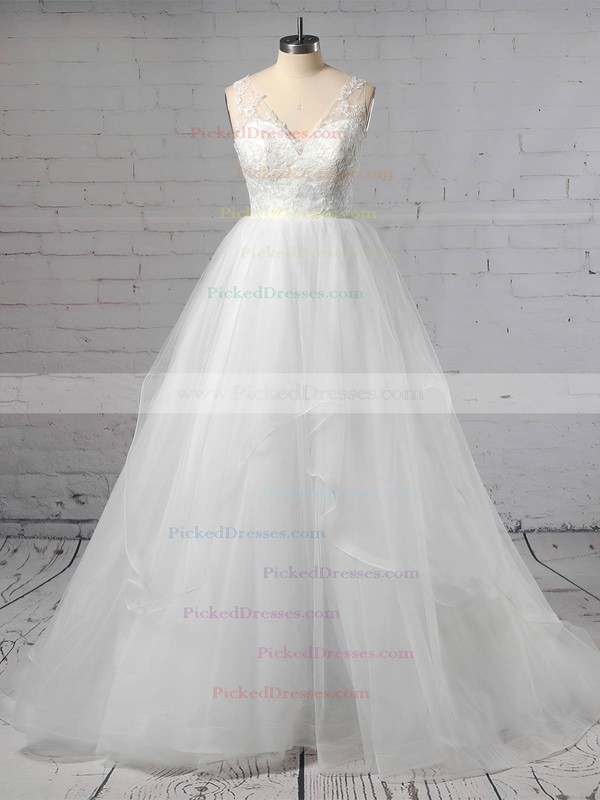 Princess V-neck Sweep Train Lace Tulle Cascading Ruffles Wedding Dresses #PDS00023422