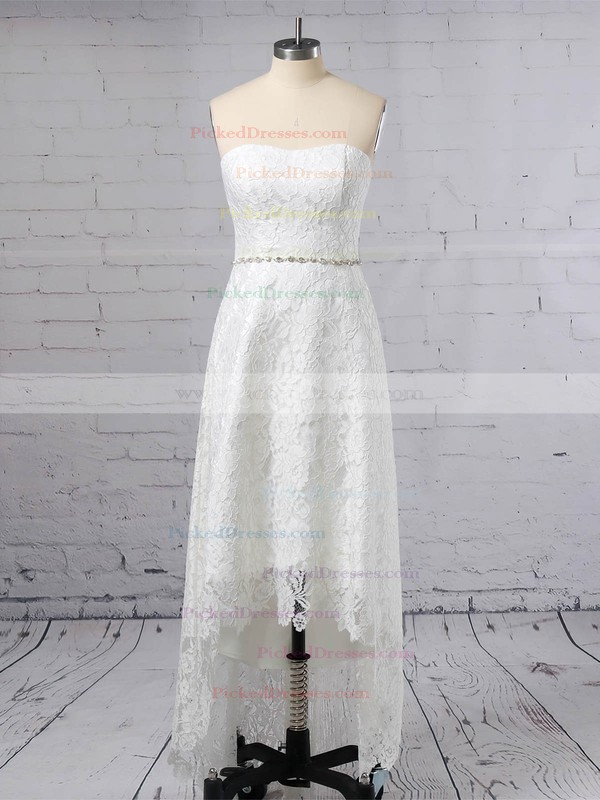A-line Strapless Asymmetrical Lace Sashes / Ribbons Wedding Dresses #PDS00023425