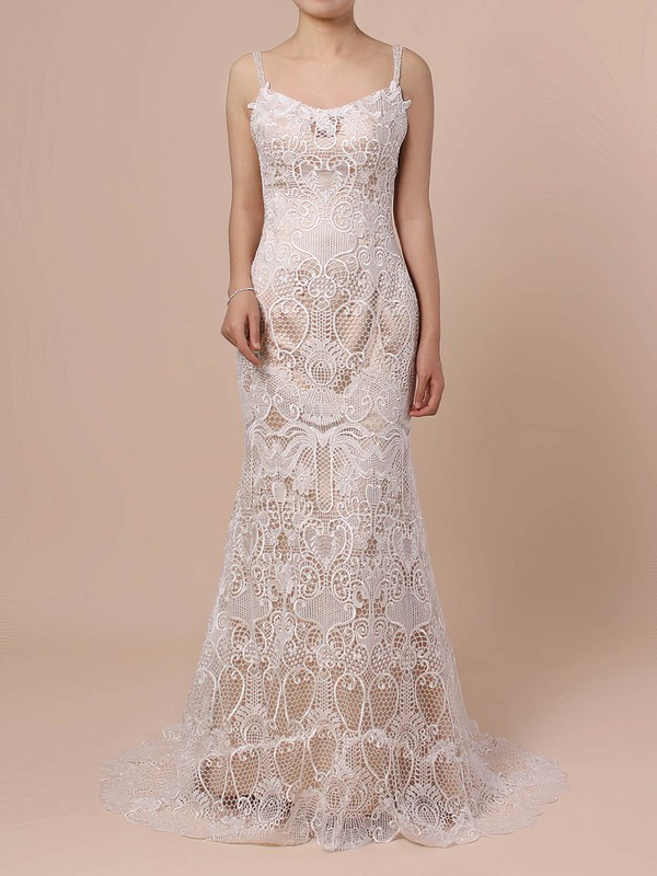 Trumpet/Mermaid V-neck Sweep Train Lace Beading Wedding Dresses #PDS00023428