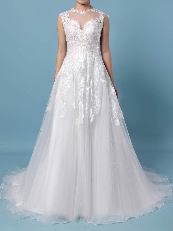 A-line Scoop Neck Sweep Train Tulle Appliques Lace Wedding Dresses #PDS00023431