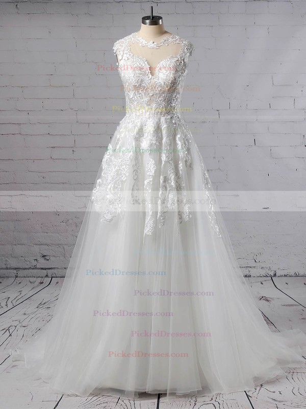 A-line Scoop Neck Sweep Train Tulle Appliques Lace Wedding Dresses #PDS00023431