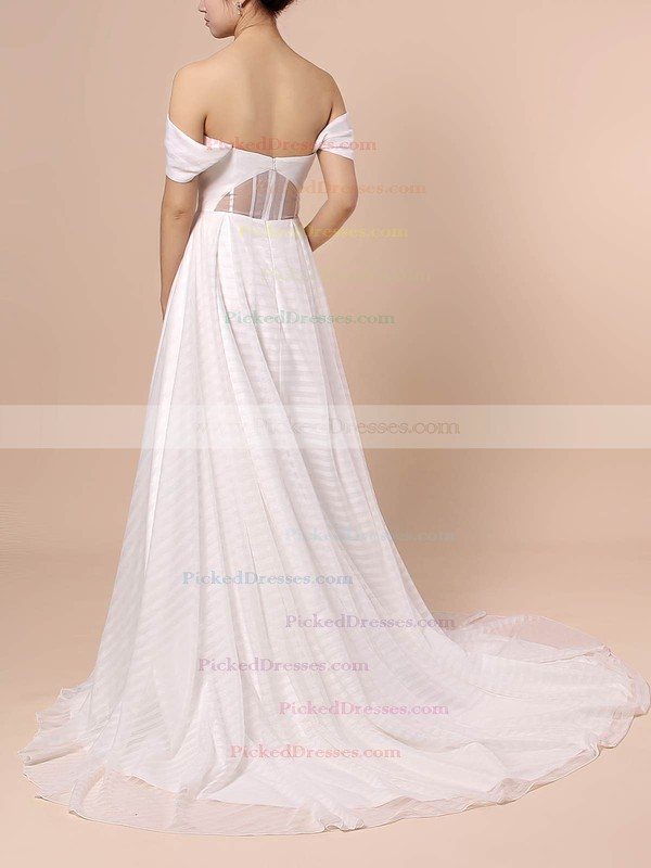 Ball Gown Off-the-shoulder Sweep Train Organza Split Front Wedding Dresses #PDS00023433