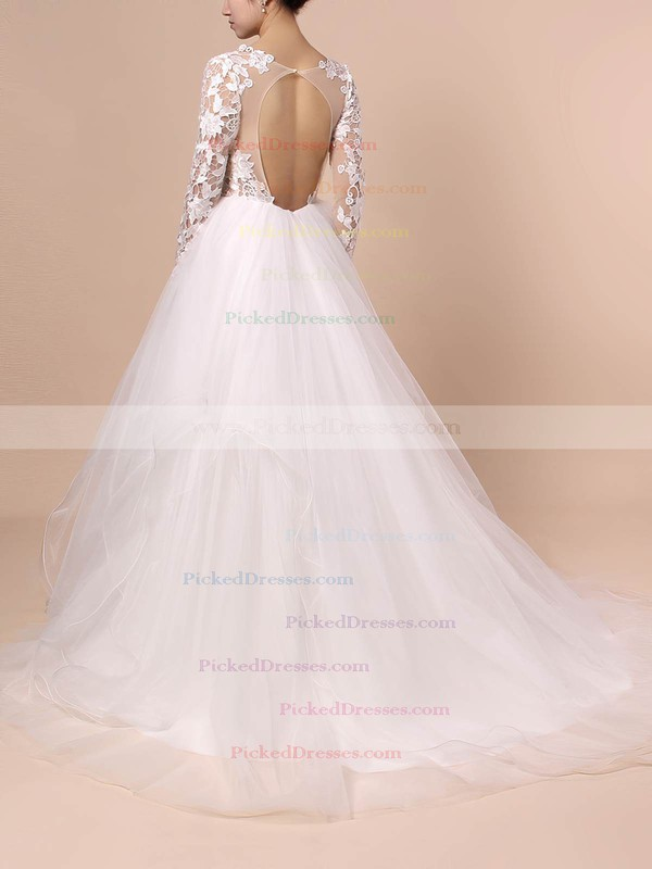 Ball Gown V-neck Sweep Train Organza Tulle Cascading Ruffles Wedding Dresses #PDS00023436