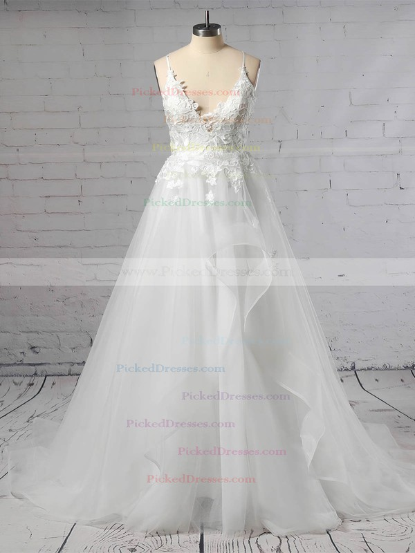 Ball Gown V-neck Sweep Train Tulle Appliques Lace Wedding Dresses #PDS00023438