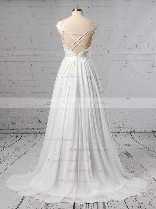 A-line Scoop Neck Sweep Train Chiffon Tulle Lace Wedding Dresses #PDS00023440