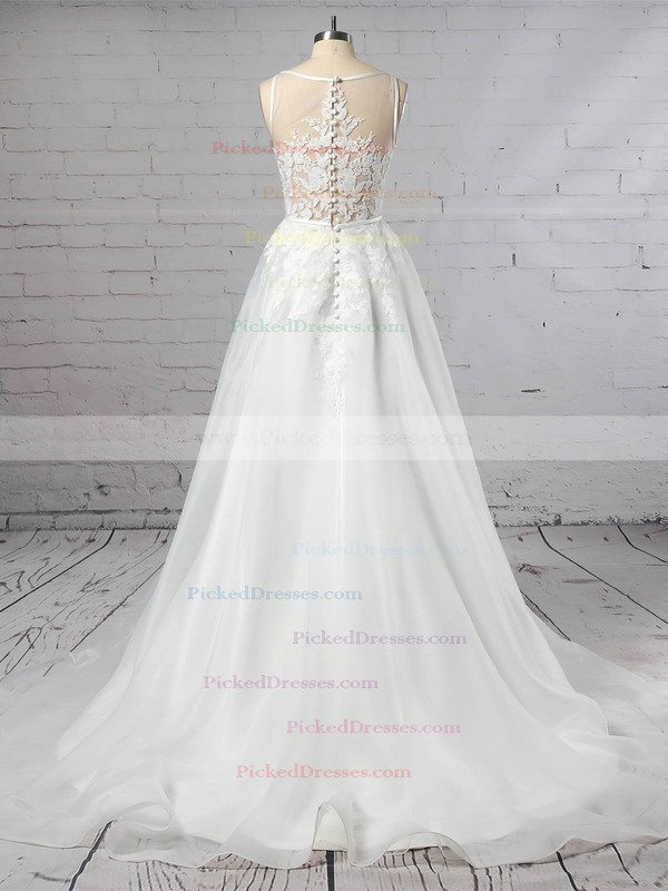A-line V-neck Sweep Train Organza Tulle Appliques Lace Wedding Dresses #PDS00023442