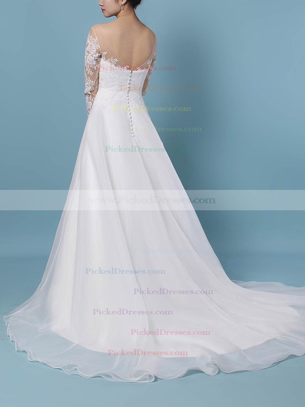 A-line Scoop Neck Sweep Train Organza Tulle Appliques Lace Wedding Dresses #PDS00023444