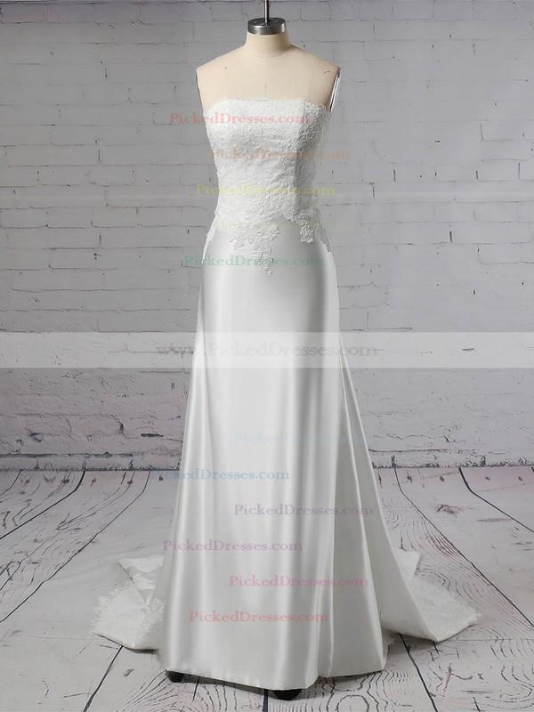 Sheath/Column Off-the-shoulder Sweep Train Lace Satin Appliques Lace Wedding Dresses #PDS00023445