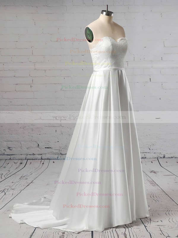 Ball Gown Scalloped Neck Sweep Train Lace Satin Sashes / Ribbons Wedding Dresses #PDS00023446
