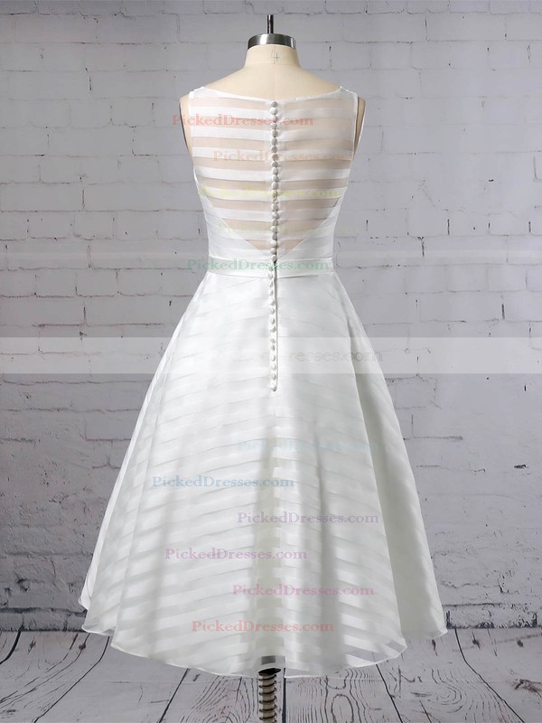 Ball Gown Scoop Neck Tea-length Organza Sashes / Ribbons Wedding Dresses #PDS00023449