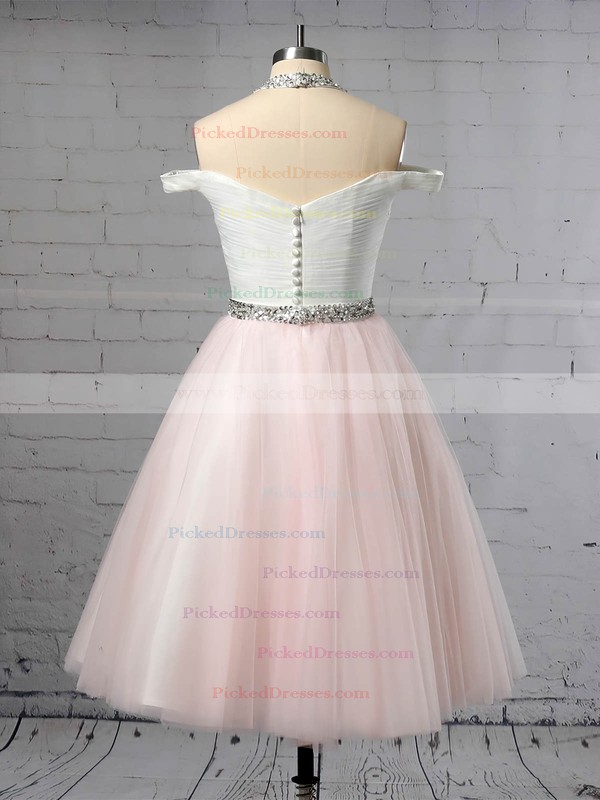 Ball Gown Halter Tea-length Tulle Beading Wedding Dresses #PDS00023450