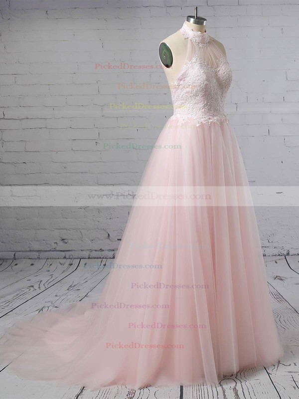 A-line Halter Sweep Train Tulle Appliques Lace Wedding Dresses #PDS00023452