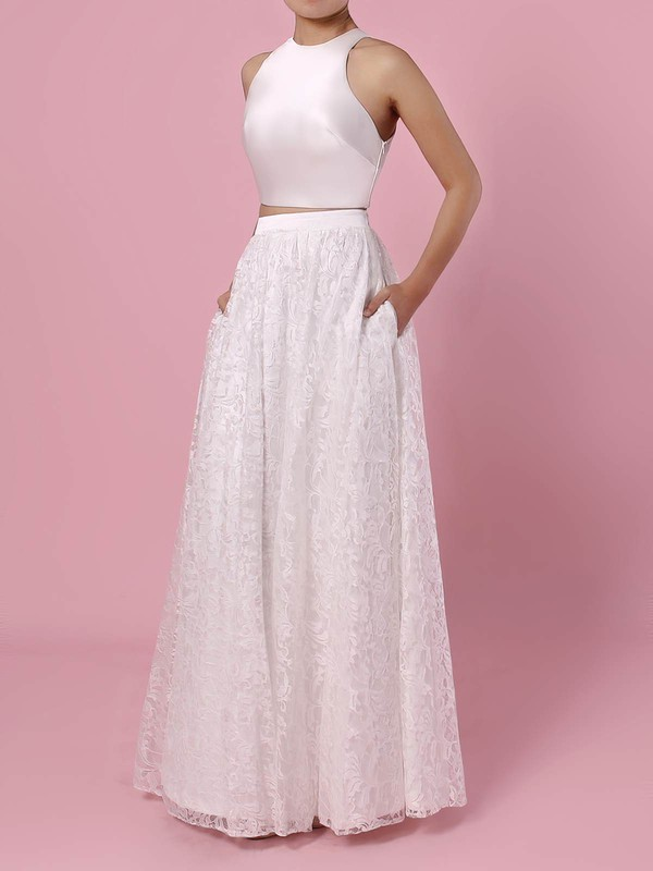 A-line Scoop Neck Floor-length Lace Pockets Wedding Dresses #PDS00023456