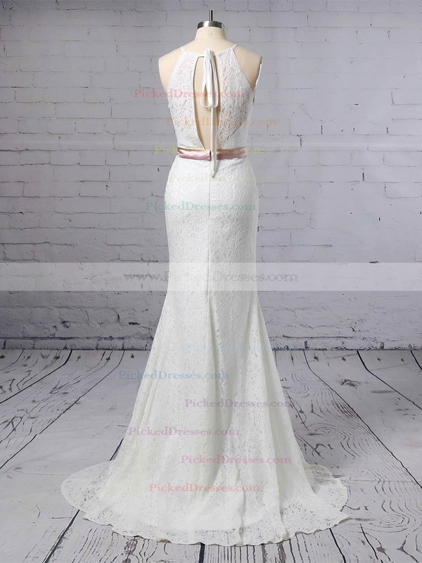 Trumpet/Mermaid Scoop Neck Sweep Train Lace Sashes / Ribbons Wedding Dresses #PDS00023457