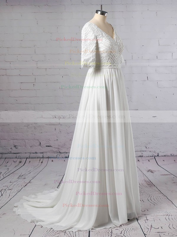 A-line V-neck Sweep Train Lace Chiffon Beading Wedding Dresses #PDS00023463