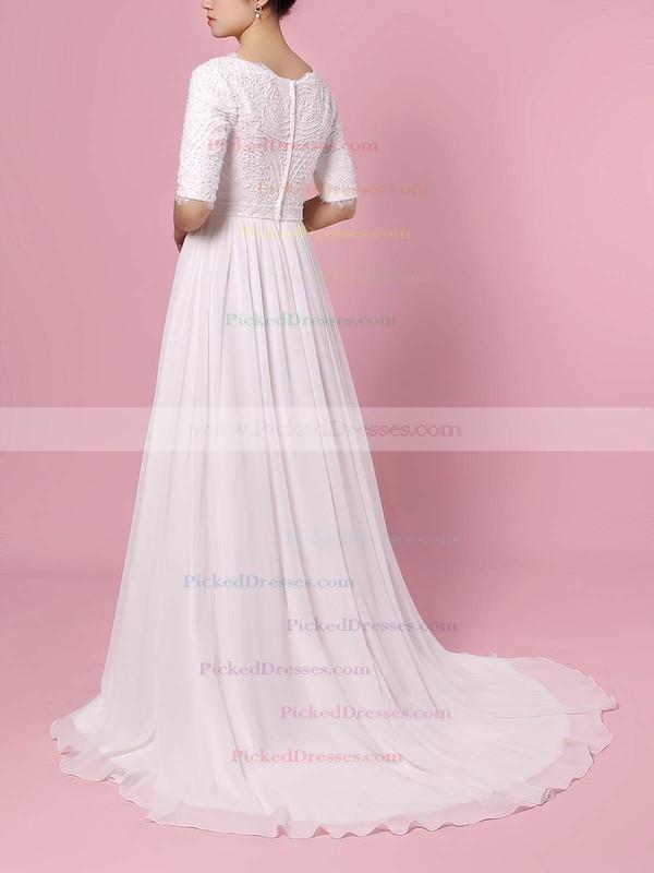 A-line V-neck Sweep Train Lace Chiffon Beading Wedding Dresses #PDS00023463