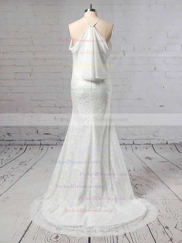 Trumpet/Mermaid Off-the-shoulder Sweep Train Lace Chiffon Wedding Dresses #PDS00023466
