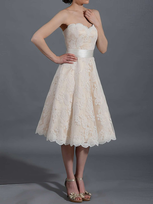 Sweetheart Champagne Lace Sashes/Ribbons Tea-length Wedding Dresses #PDS00020467