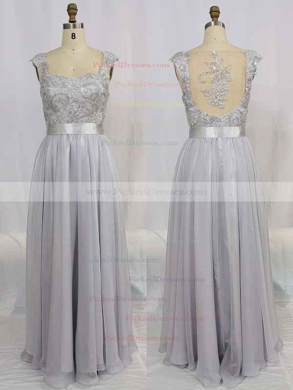 Hot V-neck Chiffon Tulle Appliques Lace Prom Dresses #PDS02015284