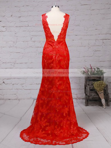 V-neck Red Lace Open Back Appliques Lace Trumpet/Mermaid Prom Dress #PDS02014905