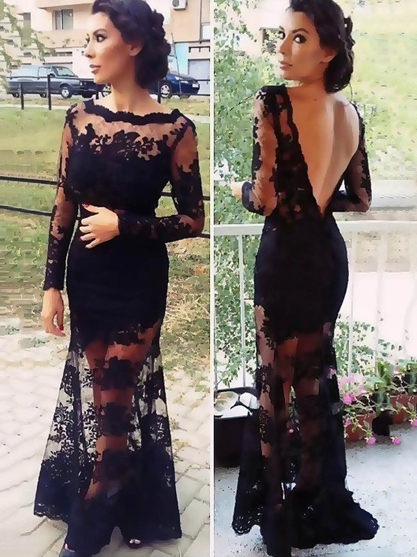 Trumpet/Mermaid Scalloped Neck Long Sleeve Black Lace Prom Dresses #PDS02015408