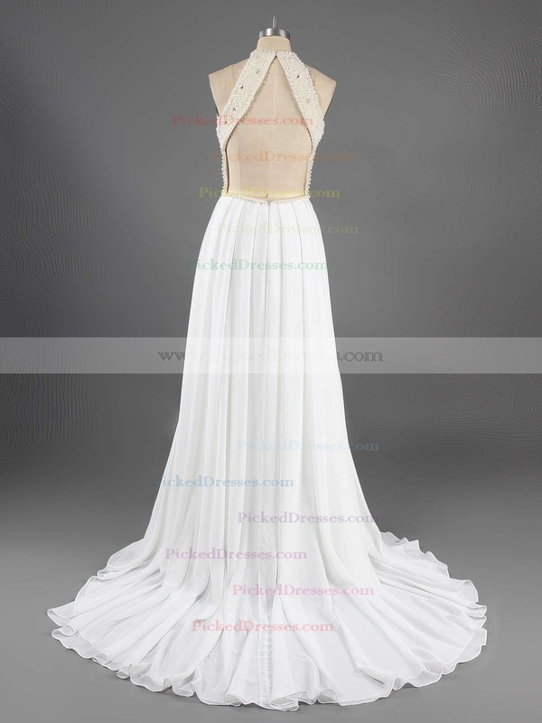 A-line Scoop Neck Sweep Train Chiffon Beading Prom dresses #PDS02016066