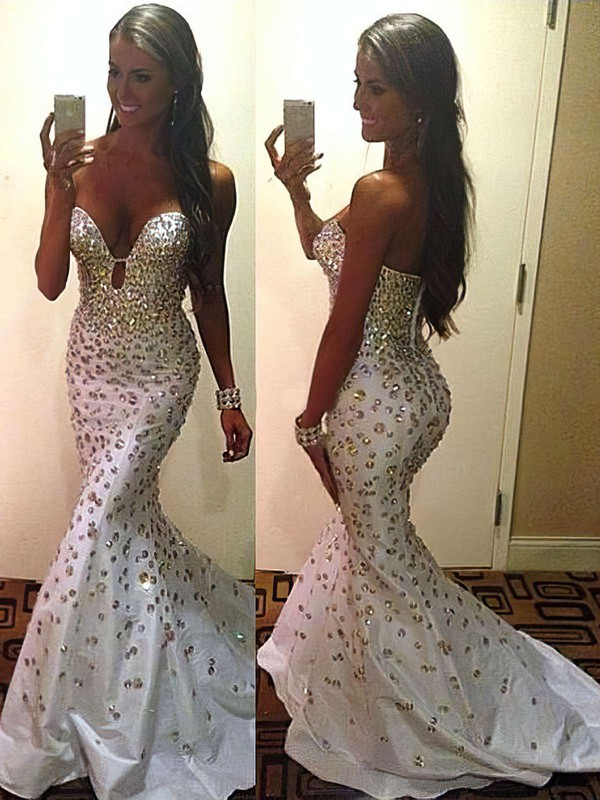Different Trumpet/Mermaid Ivory Taffeta Crystal Detailing Sweetheart Prom Dress #PDS02016139
