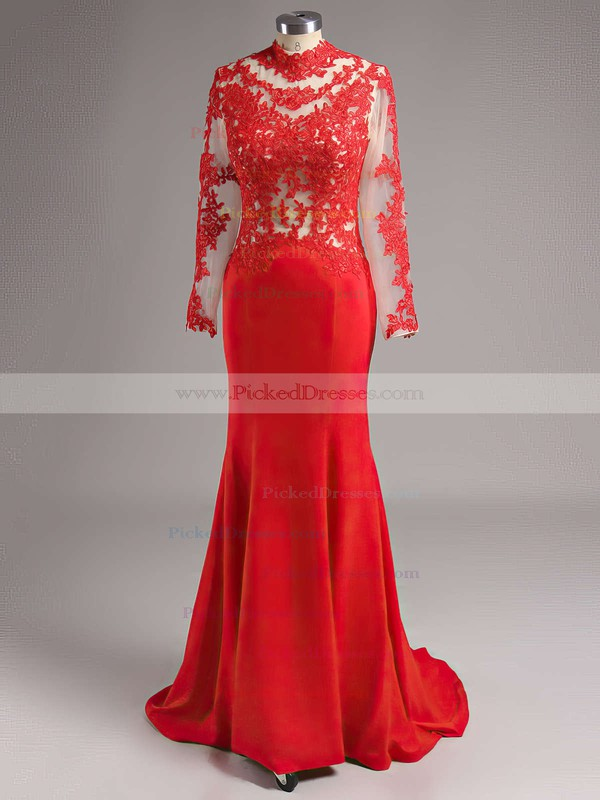 Trumpet/Mermaid High Neck Sweep Train Chiffon Tulle Appliques Lace Prom dresses #PDS02016267