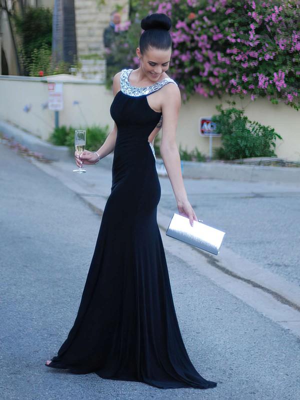 Trumpet/Mermaid Backless Scoop Neck Jersey Crystal Detailing Dark Navy Prom Dress #PDS02016327