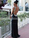 Trumpet/Mermaid Backless Scoop Neck Jersey Crystal Detailing Dark Navy Prom Dress #PDS02016327