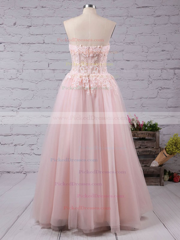 A-line Sweetheart Floor-length Tulle Appliques Lace Prom dresses #PDS02016777