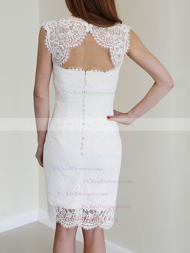 Fashion White Lace with Buttons Knee-length Sheath/Column Wedding Dress #PDS00020468