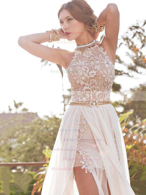 Ivory Chiffon Appliques Lace Scoop Neck Open Back Court Train Prom Dresses #PDS02017378